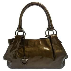Salvatore Ferragamo Olive Green Patent Leather Shoulder Bag