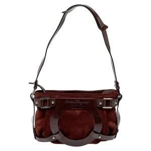 Salvatore Ferragamo Brown Suede and Leather Gancio Baguette Shoulder Bag