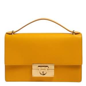 Salvatore Ferragamo Yellow Leather Gancini Clutch