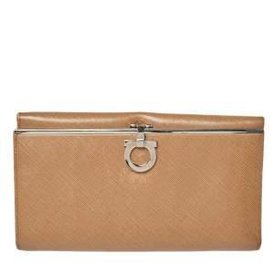Salvatore Ferragamo Beige Leather Gancini Icona Continental Wallet