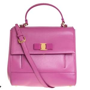 Salvatore Ferragamo Pink Leather Carrie Top Handle Bag
