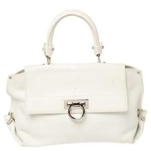 Salvatore Ferragamo White Leather Medium Sofia Top Handle Bag