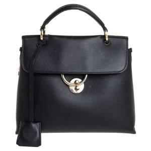 Salvatore Ferragamo Black Leather Jet Set Top Handle Bag