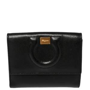 Salvatore Ferragamo Black Gancio Embossed Leather Flap Compact Wallet