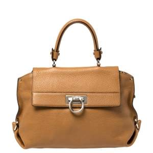 Salvatore Ferragamo Tan Leather Sofia Top Handle Bag