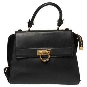 Salvatore Ferragamo Black Leather and Suede Medium Sofia Top Handle Bag