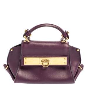 Salvatore Ferragamo Purple Leather Mini Sofia Crossbody Bag
