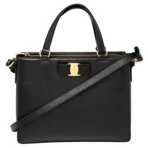 Salvatore Ferragamo Black Leather Tracy Shoulder Bag