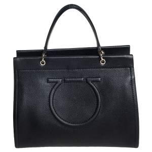 Salvatore Ferragamo Black Grained Leather Medium Meera Tote