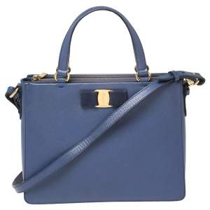 حقيبة يد سالفاتوري فيراغامو فيونكة فارا جلد أزرق