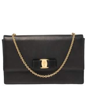 حقيبة سالفاتوري فيراغامو جلد أسود فيونكة فارا بسلسلة