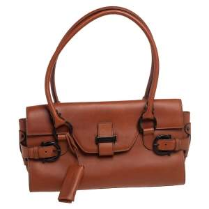 Salvatore Ferragamo Brown Leather Gina Satchel