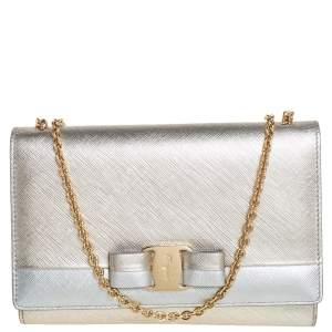 Salvatore Ferragamo Silver/Gold Leather Vara Bow Chain Shoulder Bag