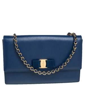 Salvatore Ferragamo Blue Leather Ginny Shoulder Bag