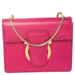 Salvatore Ferragamo Pink Leather Flap Crossbody Bag