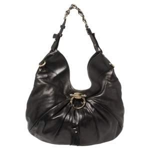 Salvatore Ferragamo Black Pleated Leather Hobo