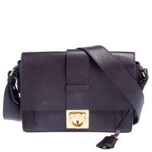 Salvatore Ferragamo Dark Plum Leather Gancio Flap Crossbody Bag