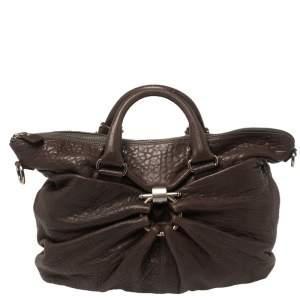 Salvatore Ferragamo Dark Brown Pebbled Leather Pleated Satchel