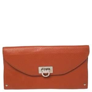 Salvatore Ferragamo Orange Leather Wallet