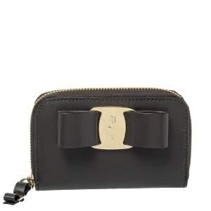 Salvatore Ferragamo Grey Leather Vara Bow Coin Purse