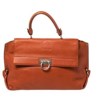 حقيبة سالفاتورى فيراغامو صوفيا بيد علوية جلد برتقالي محروق