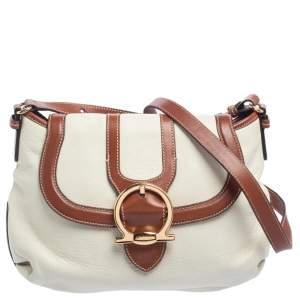 Salvatore Ferragamo White/Brown Leather Gancio Flap Shoulder Bag