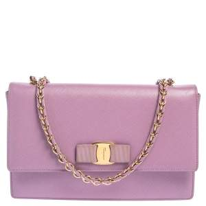 Salvatore Ferragamo Lilac Saffiano Leather Vara Bow Shoulder Bag