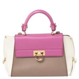Salvatore Ferragamo Multicolor Leather Sofia Top Handle Bag