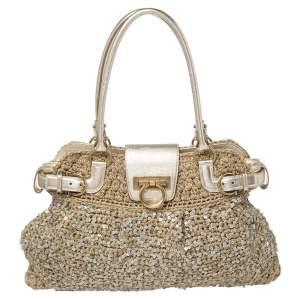 Salvatore Ferragamo Metallic Gold/Beige Crochet Fabric and Leather Sequin Embellished Marisa Satchel