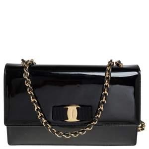 Salvatore Ferragamo Black Patent Leather Ginny Shoulder Bag