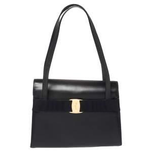 Salvatore Ferragamo Navy Blue Leather Vara Bow Flap Shoulder Bag