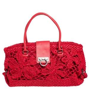 Salvatore Ferragamo Red Woven Straw and Leather Flap Satchel