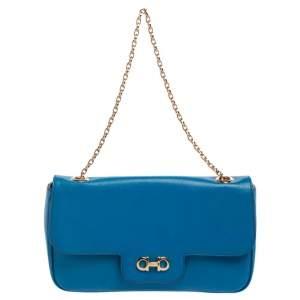 Salvatore Ferragamo Blue Leather Luciano Shoulder Bag