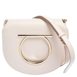 Salvatore Ferragamo Pale Pink Leather Vela Crossbody Bag