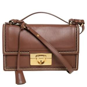 Salvatore Ferragamo Brown Leather Aileen Stitched Top Handle Bag