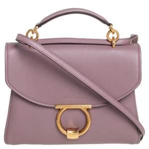 Salvatore Ferragamo Old Rose Leather Margot Top Handle Bag