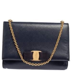 Salvatore Ferragamo Blue Saffiano Leather Vara Bow Chain Clutch