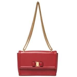 Salvatore Ferragamo Red Leather Ginny Shoulder Bag