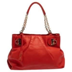 Salvatore Ferragamo Red Leather Chain Tote