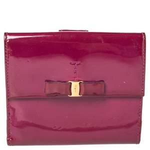 Salvatore Ferragamo Purple Patent Leather Vara Bow Wallet