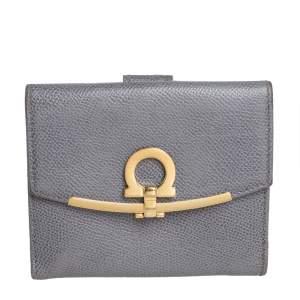 Salvatore Ferragamo Grey Leather Gancini Clip Compact Wallet