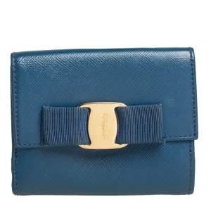 Salvatore Ferragamo Blue Leather Vara Bow Compact Wallet