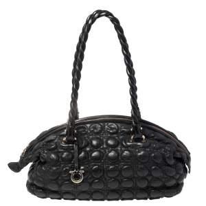 Salvatore Ferragamo Black Quilted Gancini Leather Shoulder Bag