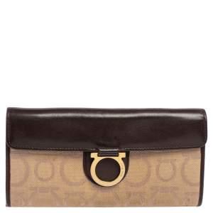 Salvatore Ferragamo Beige/Brown Gancini Canvas and Leather Continental Wallet