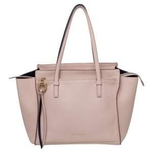 Salvatore Ferragamo Pink Pebbled Leather Medium Amy Tote Bag
