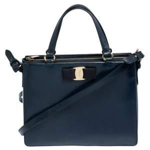 Salvatore Ferragamo Navy Blue Leather Tracey Tote