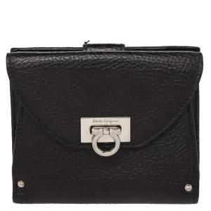 Salvatore Ferragamo Black Leather Classic Mediterraneo Compact Wallet