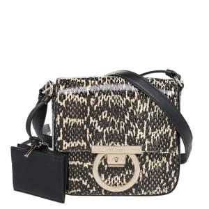Salvatore Ferragamo Black Python Leather Flap Shoulder Bag