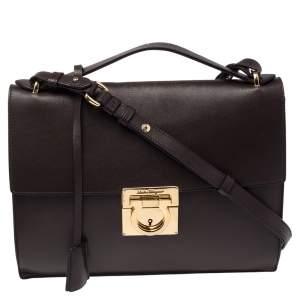 Salvatore Ferragamo Chocolate Brown Leather Marisol Shoulder Bag