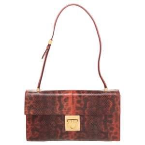 Salvatore Ferragamo Red Karung Gancio Lock Shoulder Bag